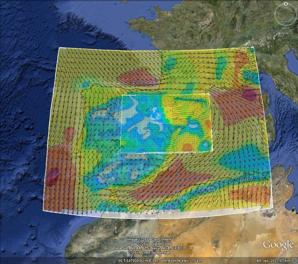 Mapa simulación potencial eólico